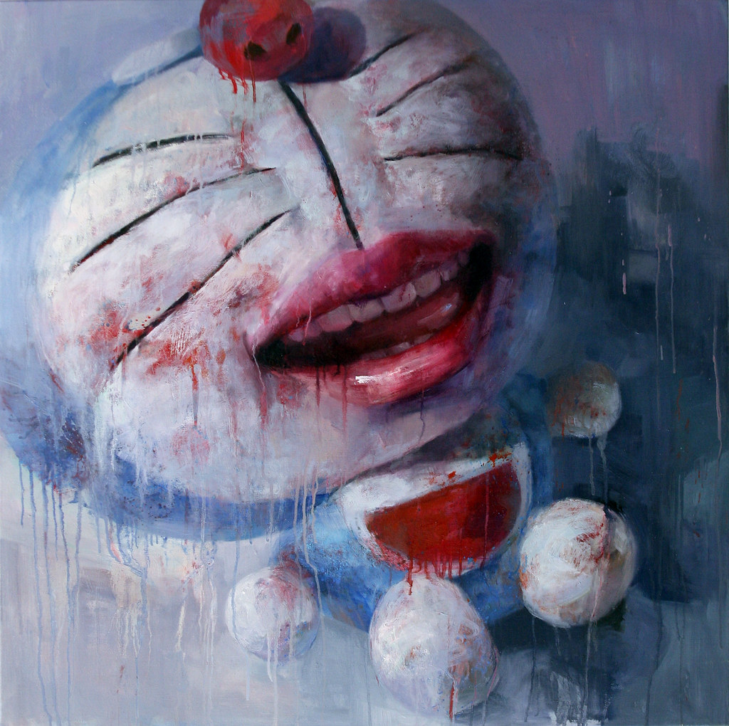 doraemon1 小叮噹一 100x100 2009 oil on canvas peihang 沛涵 huang