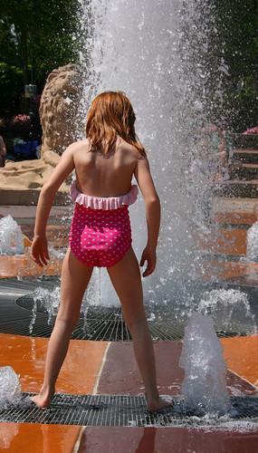 Girl in bikni peeing