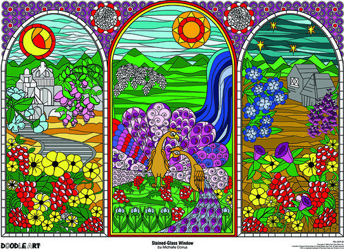Doodle Art Stained Glass Window Coloring Page Poster Flickr