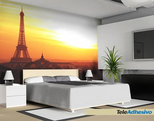 Fotomural de sitios famosos torre eiffel skyline paris - Vinilos decorativos fotomurales ...