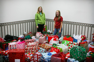 Katie Schacklett and Allie Aiken of the UTC Student Alumni Council with the gifts after dropping them off at the Tennessee Department of Children's Services. | by UT-Chattanooga