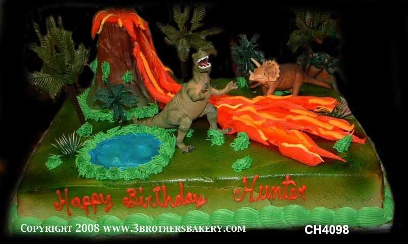Ch4098 Dinosaur And Volcano Birthday Cake Copy 3 Brothers Bakery