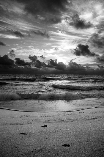 Landscape photography sunrise at beach black and white dramatic sky skies photo