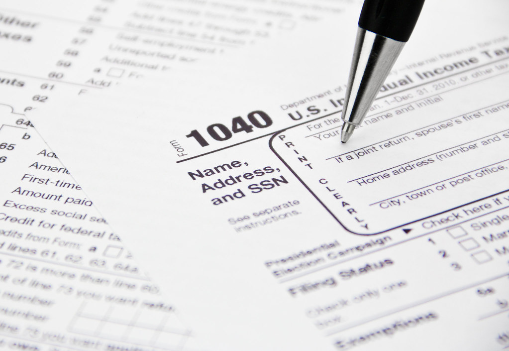 Irs 1040 Tax Form Being Filled Out Feel Free To Use This I Flickr