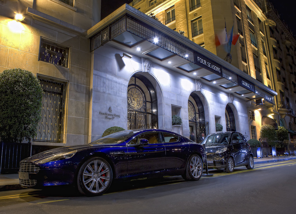 ... HDR Aston Martin Rapide And Smart Fortwo In Front Of The Four Seasons  Hotel George V