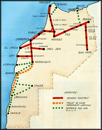 map of the moroccan rail system oncf the princes