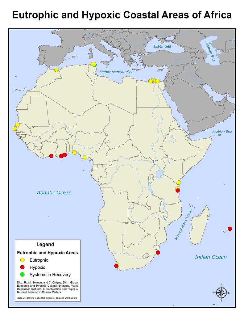 Eutrophic and Hypoxic Coastal Areas of Africa Map Africa | Flickr