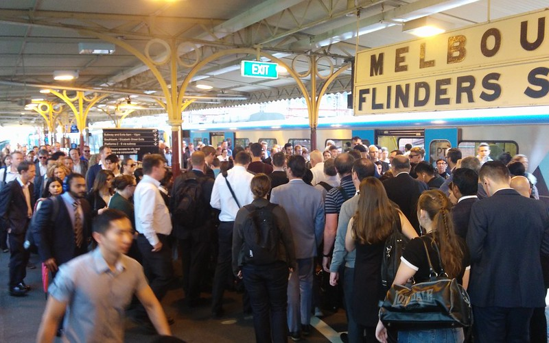 Crowded platform at Flinders Street Station