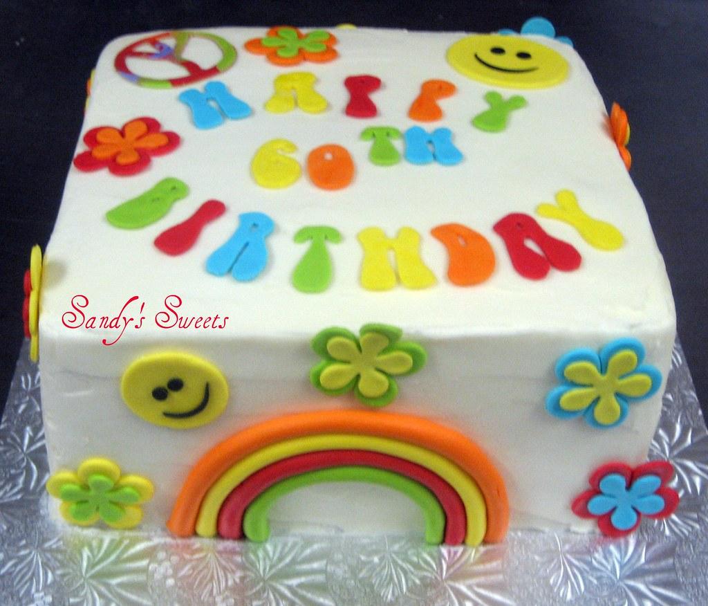 60th Birthday Cake Peace Loving Birthday Cake Very Retro