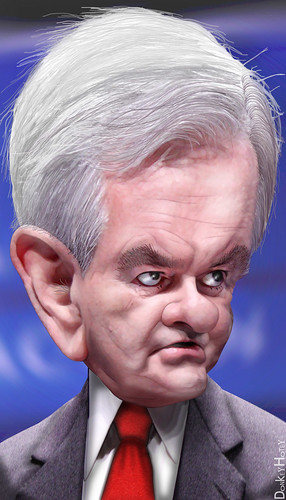 Newt Gingrich - Caricature | by DonkeyHotey