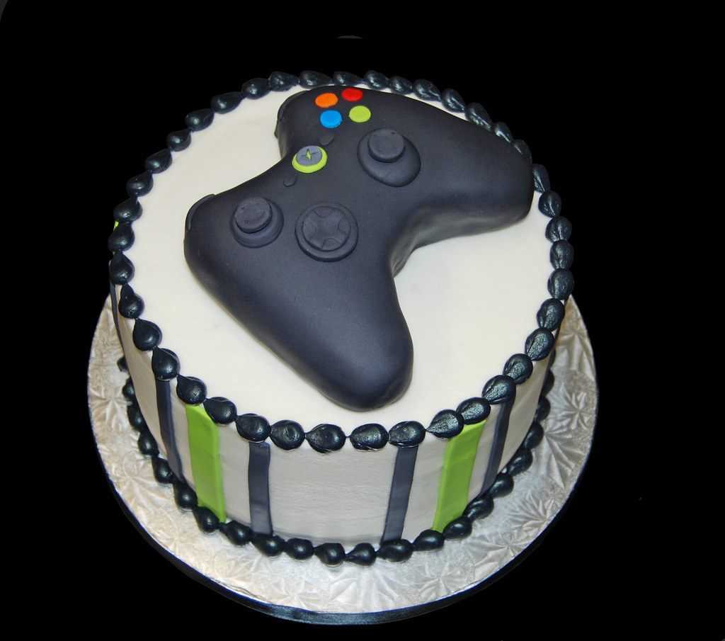 Black and neon green birthday cake topped with a video gam Flickr