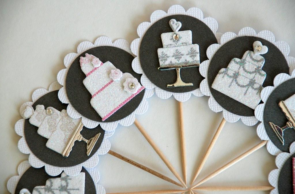 glitterandfrills bridal showerwedding cupcake toppers by glitterandfrills