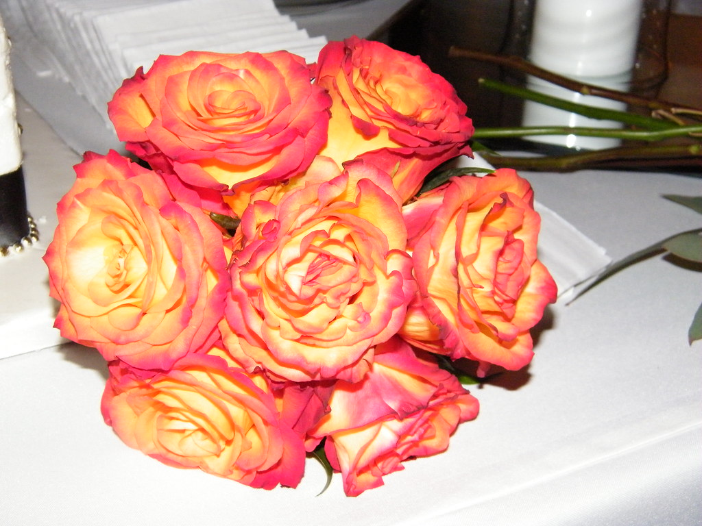 Yellowred tip rose bouquet yellow with red tip roses bri flickr essentialeventplanning yellowred tip rose bouquet by essentialeventplanning mightylinksfo