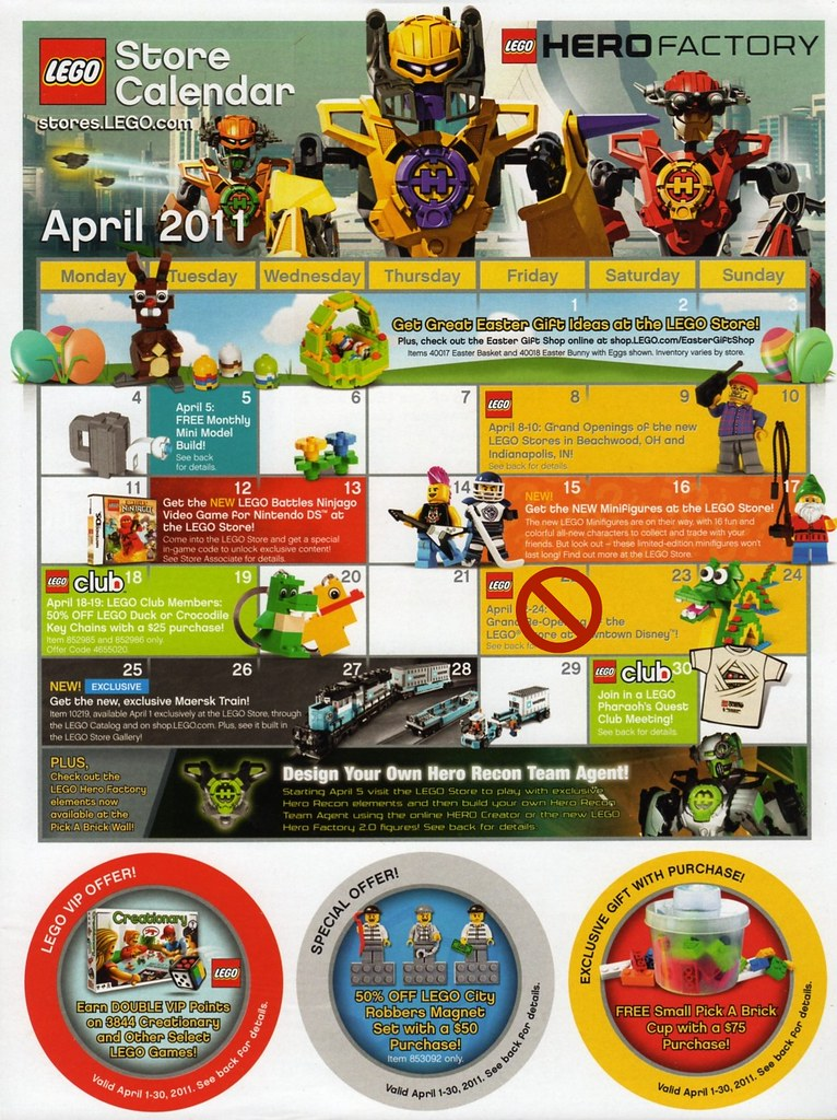 LEGO Store Calendar April '11 - front | US LEGO Store Calend… | Flickr