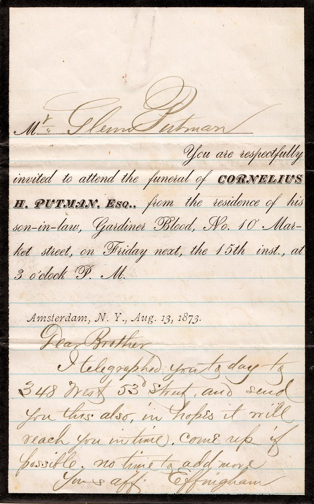 Funeral Invitation and Letter 1873 Mr Glenn Putman Yo – Invitation to a Funeral