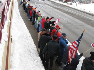 Walker supporters and union supporters square off in Wausau | by Wisconsin Public Radio