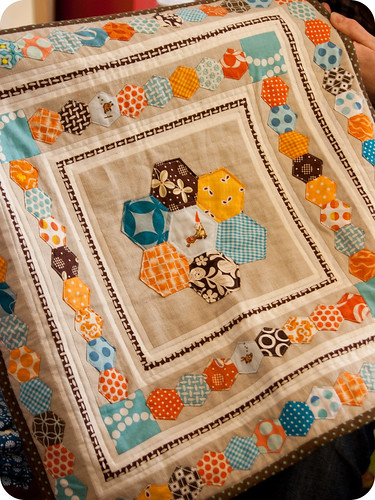 tacha's hexed in pillow cover | by little girl quilts