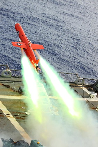 Drone launches from flight deck of USS Lassen. | by Official U.S. Navy Imagery