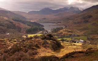 Capel Curig, Llynau Mymbyr and the Snowdon range from Clogwyn Mawr | by Nick Livesey Mountain Images