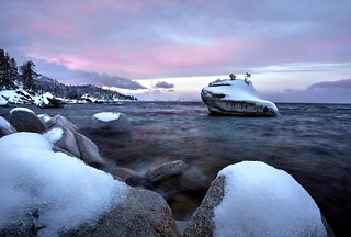 Snowy Sunrise,  Bonsai Rock, Lake Tahoe | by Rob Macklin