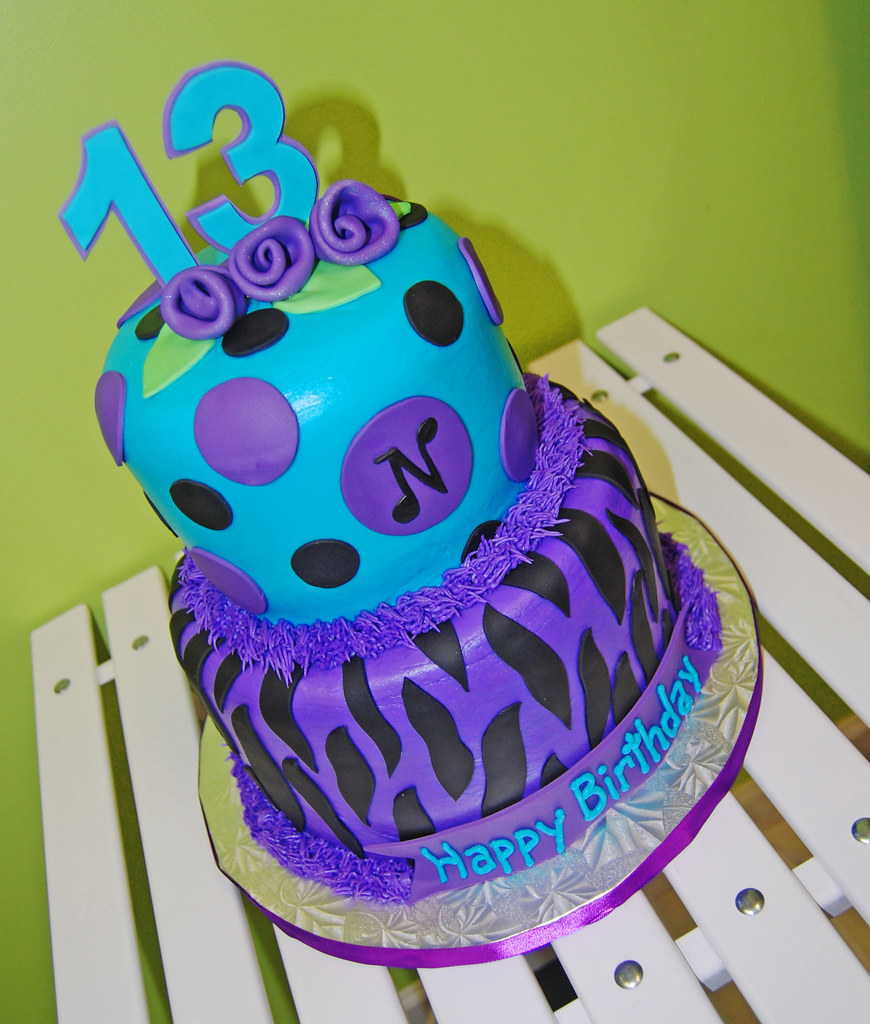 Purple Turquoise And Black Zebra Print 13th Birthday Cake Flickr