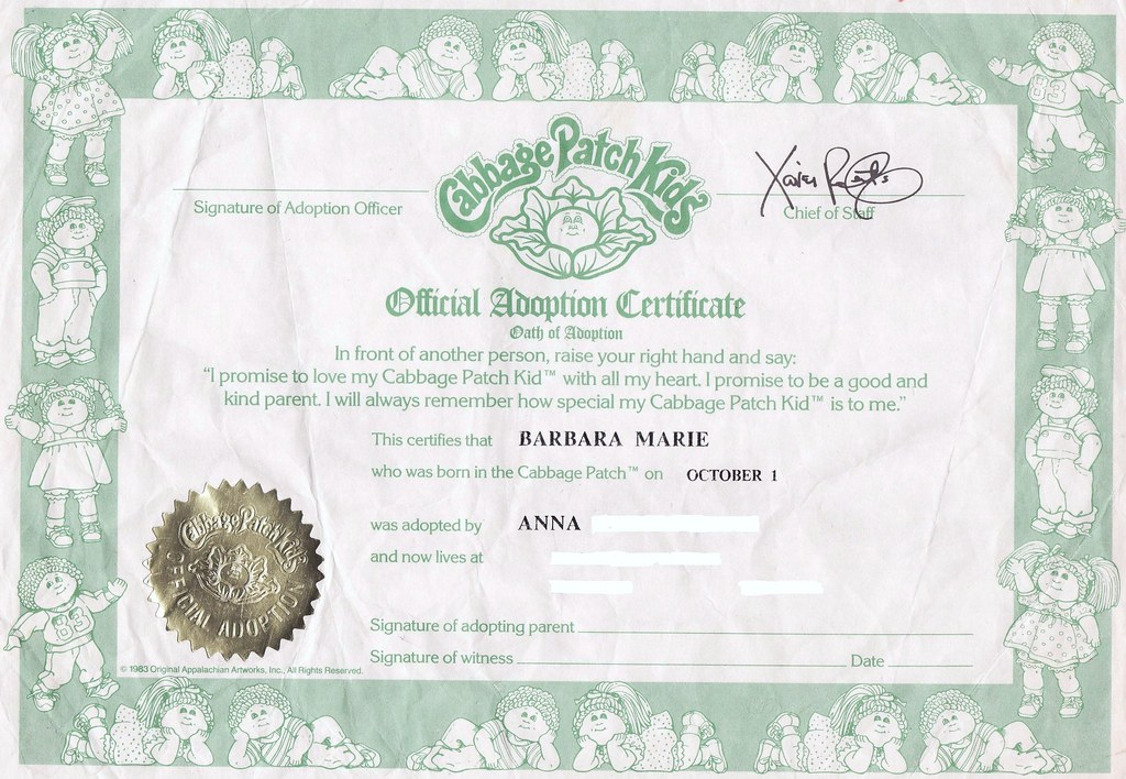 Cabbage Patch Kids Official Adoption Certificate 1985 Flickr