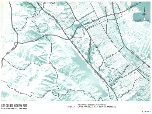 City-County Highway Plan for San Mateo County: The Future Highway Network, Area 2: South Pacifica, San Bruno, Millbrae (1962) | by Eric Fischer