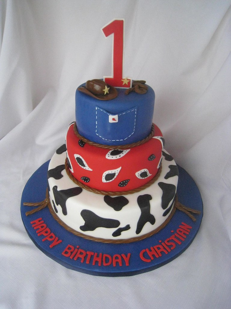 Cowboy 1st Birthday Cake Chocolate Cake Wvanilla Buttercr Flickr