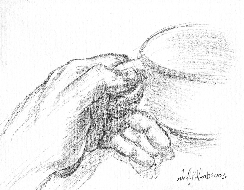 Coffee cup sketch -  Hand Holding Coffee Cup By Wasfi Akab