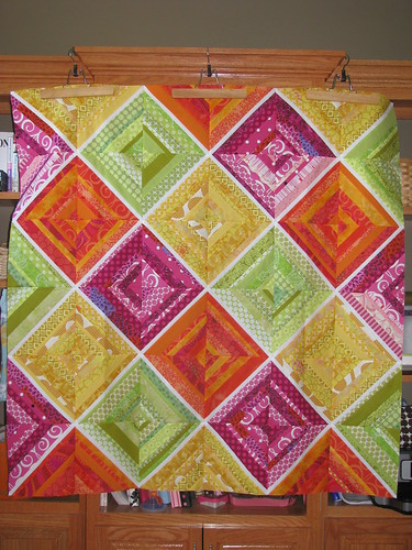 Rainbow Sherbet string quilt top | by i don't do dishes...