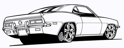 camaro line art 2 hand drawn and inked scanned high