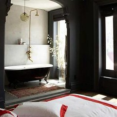 Vintage Modern Bathroom jenna lyons {black and white vintage modern bathroom / bed… | flickr