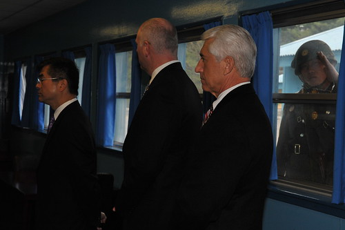 Secretary Locke, Congressman Crowley and Congressman Reichert being briefed at the DMZ | by CommerceGov