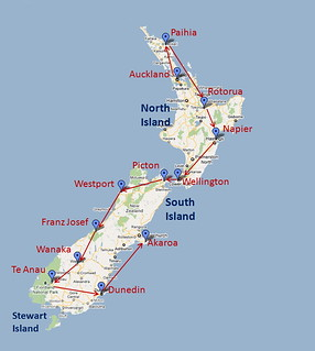 Map of New Zealand showing places that we visited in March/April 2011 | by Yvon from Ottawa