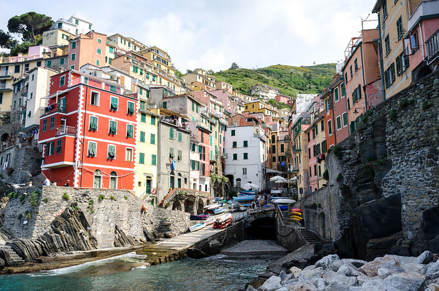 View of the village from seaside - Riomaggiore.