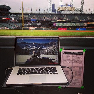 Tonight's #office (and #desk). #mlb #mariners #astros #photography #sports #seattle #houston | by Steven M. Bisig