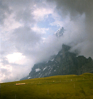 1984-08-15. 17.  Jungfraubahn train departing from Kleine Scheidegg. | by Ron Fisher