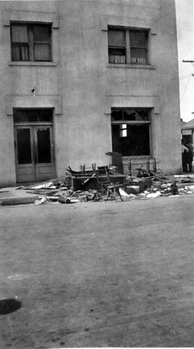 Exterior of unidentified IWW hall, post-raid, 1918. | by UW Digital Collections