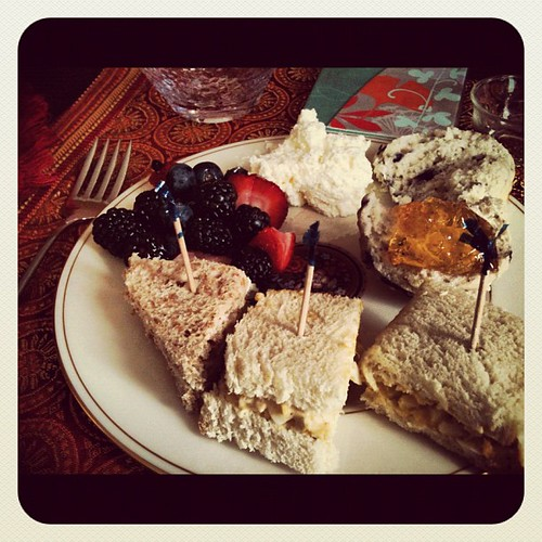 Tea Fare - canapés, scones, clotted cream, berries | by literarymom