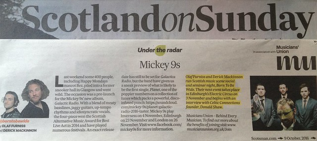 Scotland On Sunday, 9 October 2016, Mickey 9s