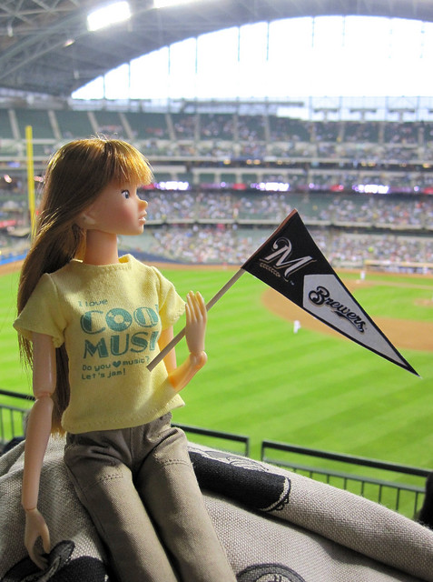 Greta at a Milwaukee Brewers / St. Louis Cardinals game ...
