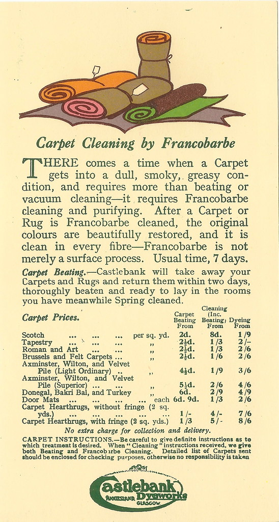 glasgow carpet cleaning leaflet issued by castlebank dyeworks alexander kennedy anniesland glasgow