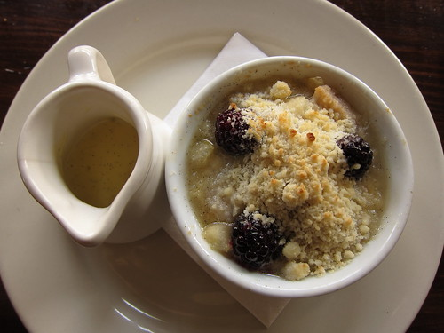 Blackberry-Pear Crumble with Vanilla Bean Crème Anglaise at Feast | by SazeracLA