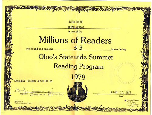 Summer Reading 1978 Certificate | by herzogbr