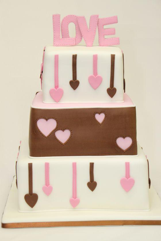 3 Stockige Hochzeitstorte Quadratisch Love Mit Herzen Flickr