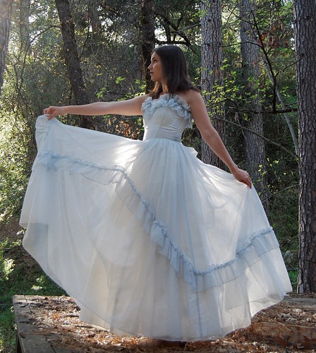Vintage MAY QUEEN Gunne SAX Strapless Pale Blue Full Skirt Polka Dot Gown | by Violet Folklore