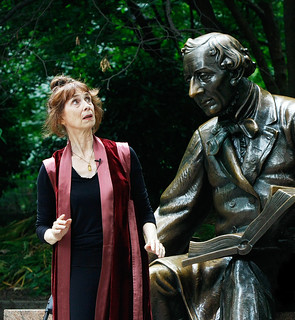 Diane and the statue of Hans Christian Andersen | by diane.wolkstein