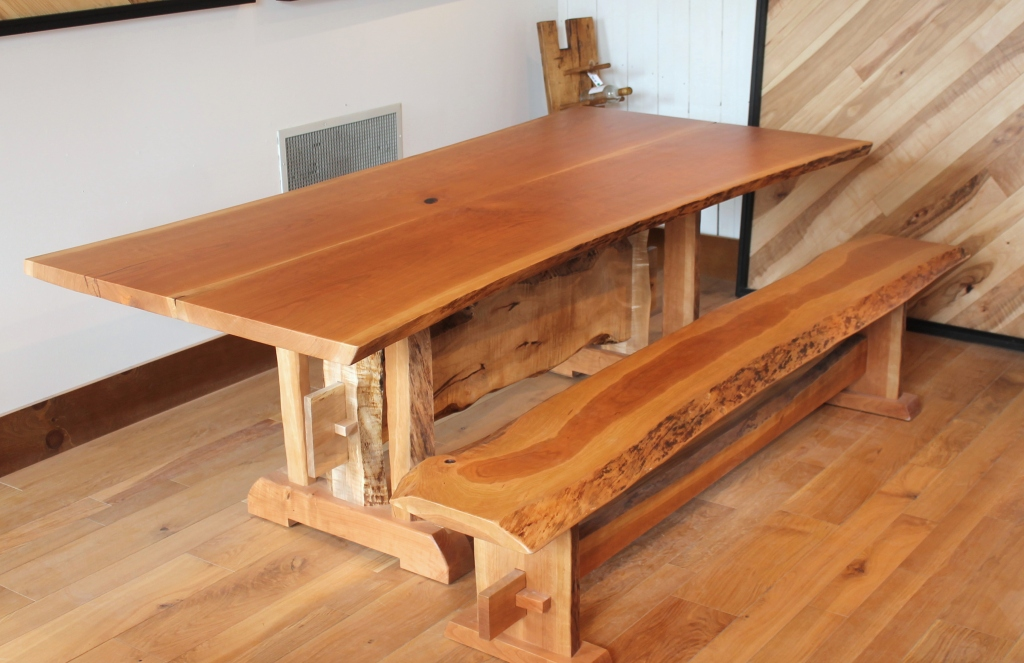 ... Live Edge Cherry Book Matched Trestle Table And Bench With Mortise And  Tenon Joinery | By