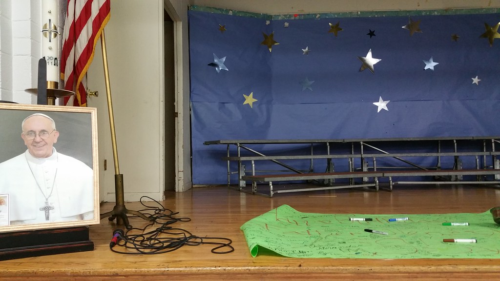 School Hall Stage With Photo Of Pope Francis Birthday Car Flickr