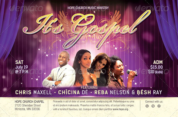gospel concert church flyer template by godserv